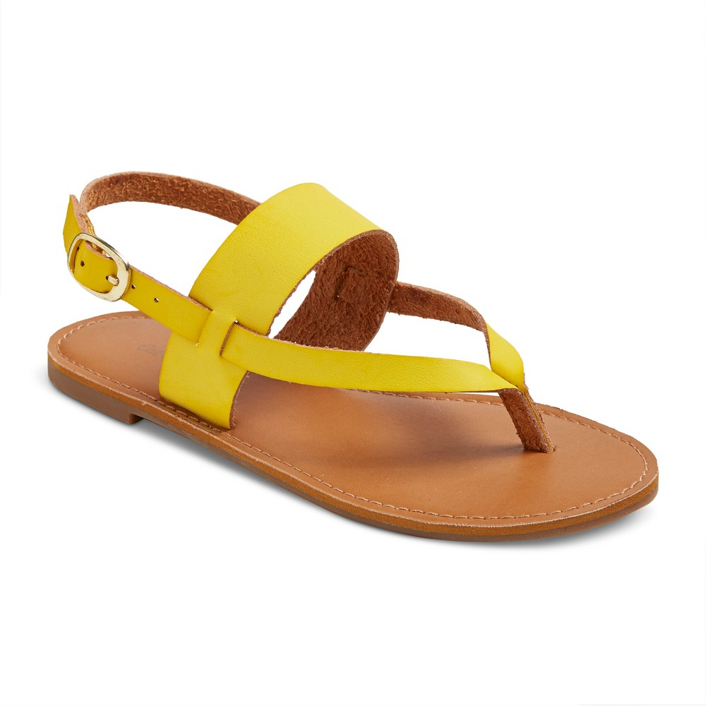 Girls Nettie Dyeable Faux Leather Thong Sandals Cat & Jack - Yellow 2