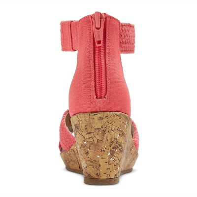 Girls' Naviah Wedge Gladiator Sandals Cat & Jack - Coral 1, Girl's, Pink