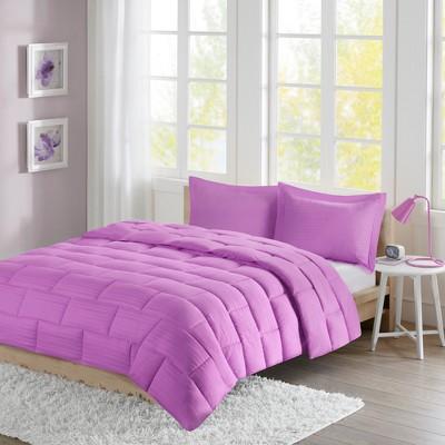 Ava Seersucker Down Alternative Comforter Set (King)Purple - 3pc