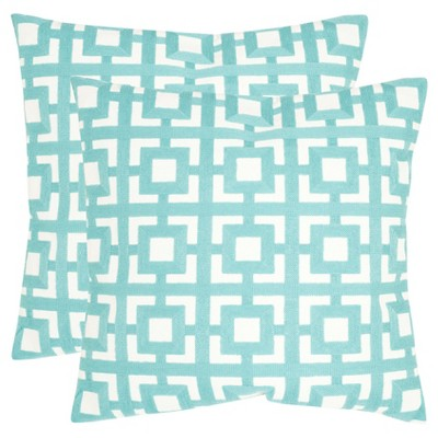 Turquoise Emily Throw Pillows - 2 Pack - (22 x22 )- Safavieh®