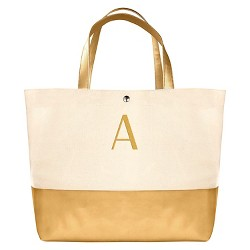 Women's Monogrammed Gold Metallic Color Dipped Tote Handbag - Cathy's Concepts