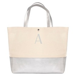 Women's Monogrammed Silver Metallic Color Dipped Tote Handbag - Cathy's Concepts
