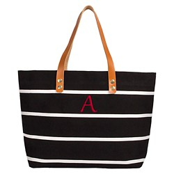 Women's Monogram Black Striped Tote with Leather Handles - Cathy's Concepts