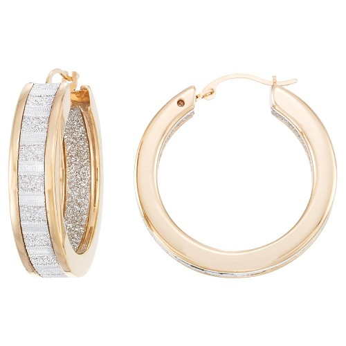 14kt Gold Reinforced with Nano Diamond Resin Inside/Out Round Glitter Hoops-Yellow Gold, Women's, Light Gold