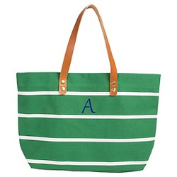 Women's Monogrammed Green Striped Tote with Leather Handles - Cathy's Concepts