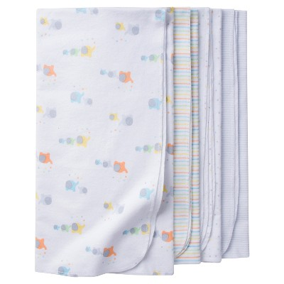 Babys' 4pk Flannel Blanket Set Elephants - Gerber®