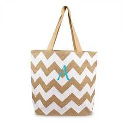 Women's Monogrammed White Chevron Natural Jute Tote Bag - Cathy's Concepts