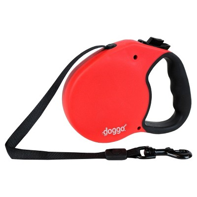 Doggo Retractable Leash with Light - Red - Large - 16'