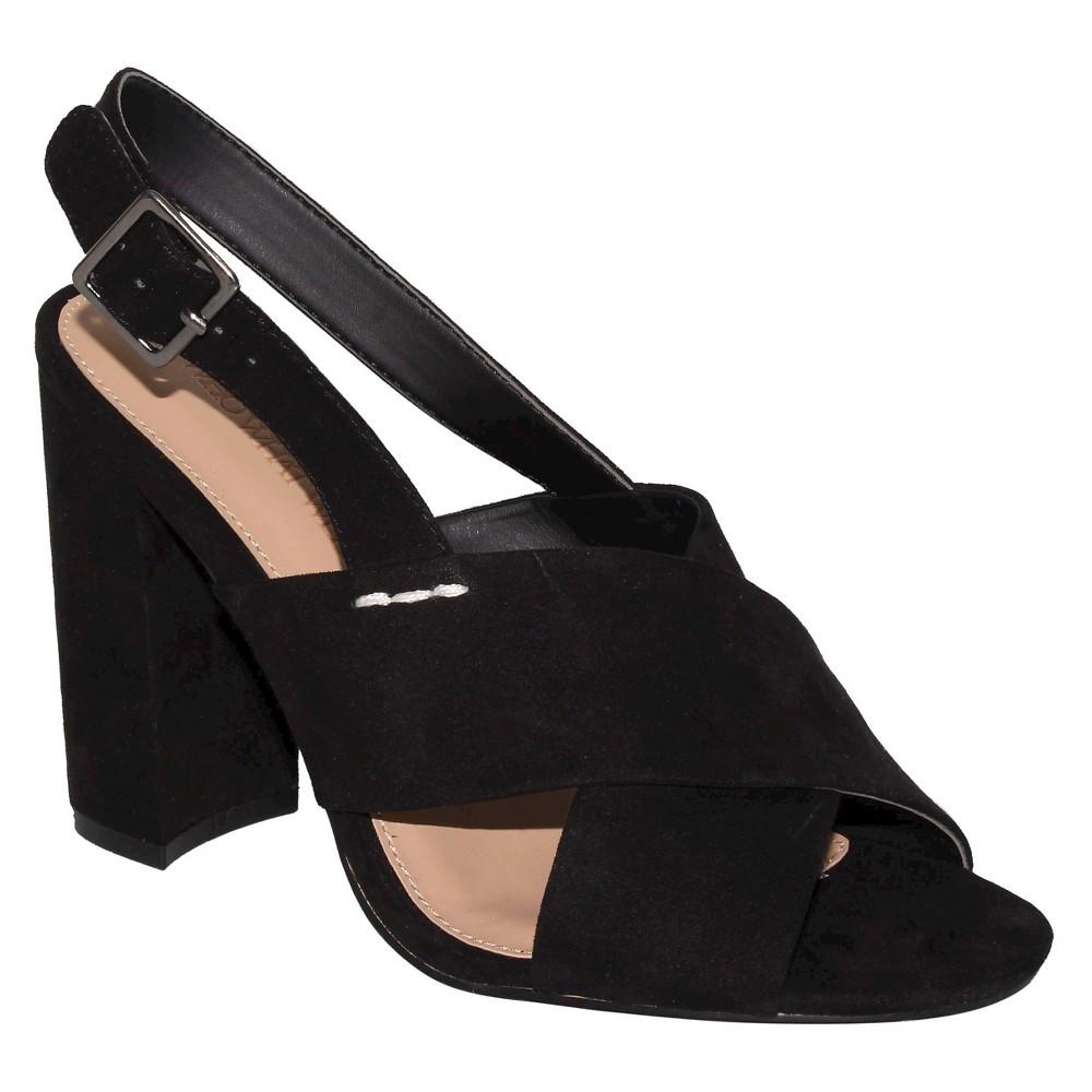 Womens Harper Microsuede Crossband Block Heels Who What Wear - Black 7.5