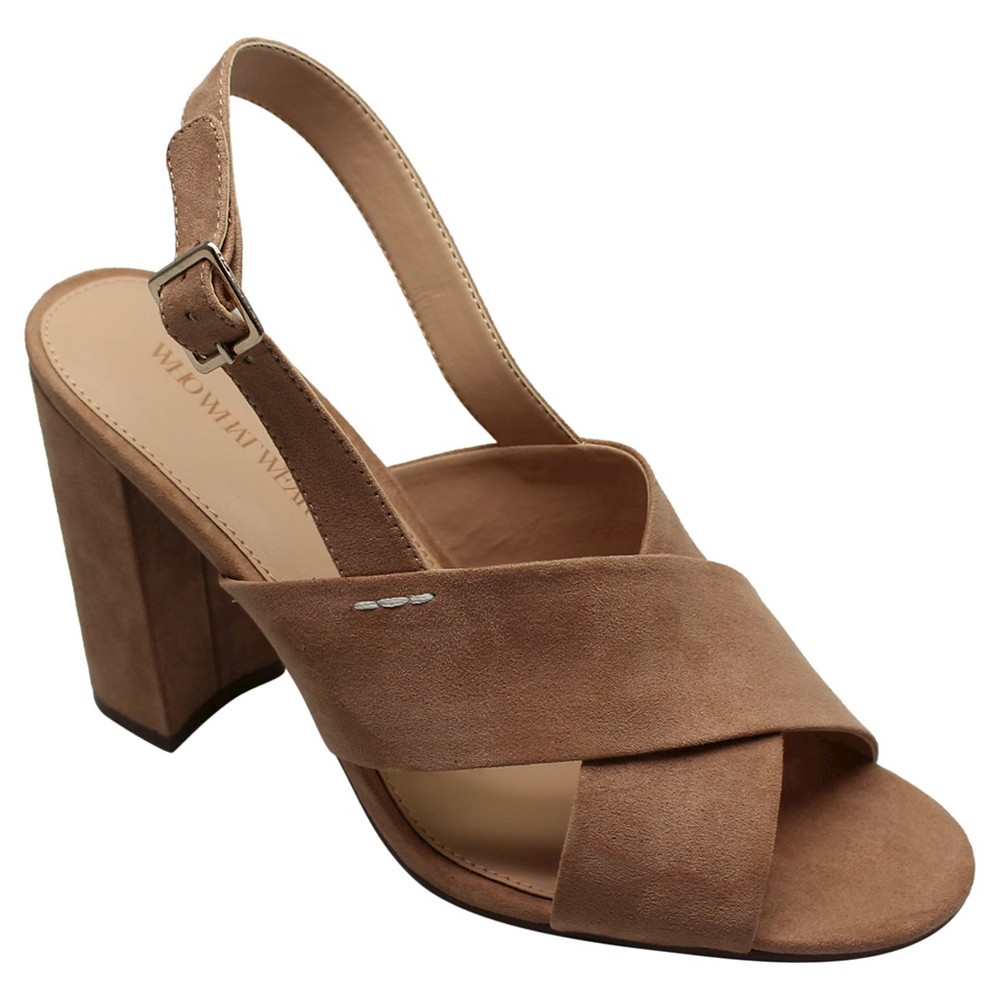 Women's Harper Microsuede Crossband Block Heels Who What Wear – Tan 9.5
