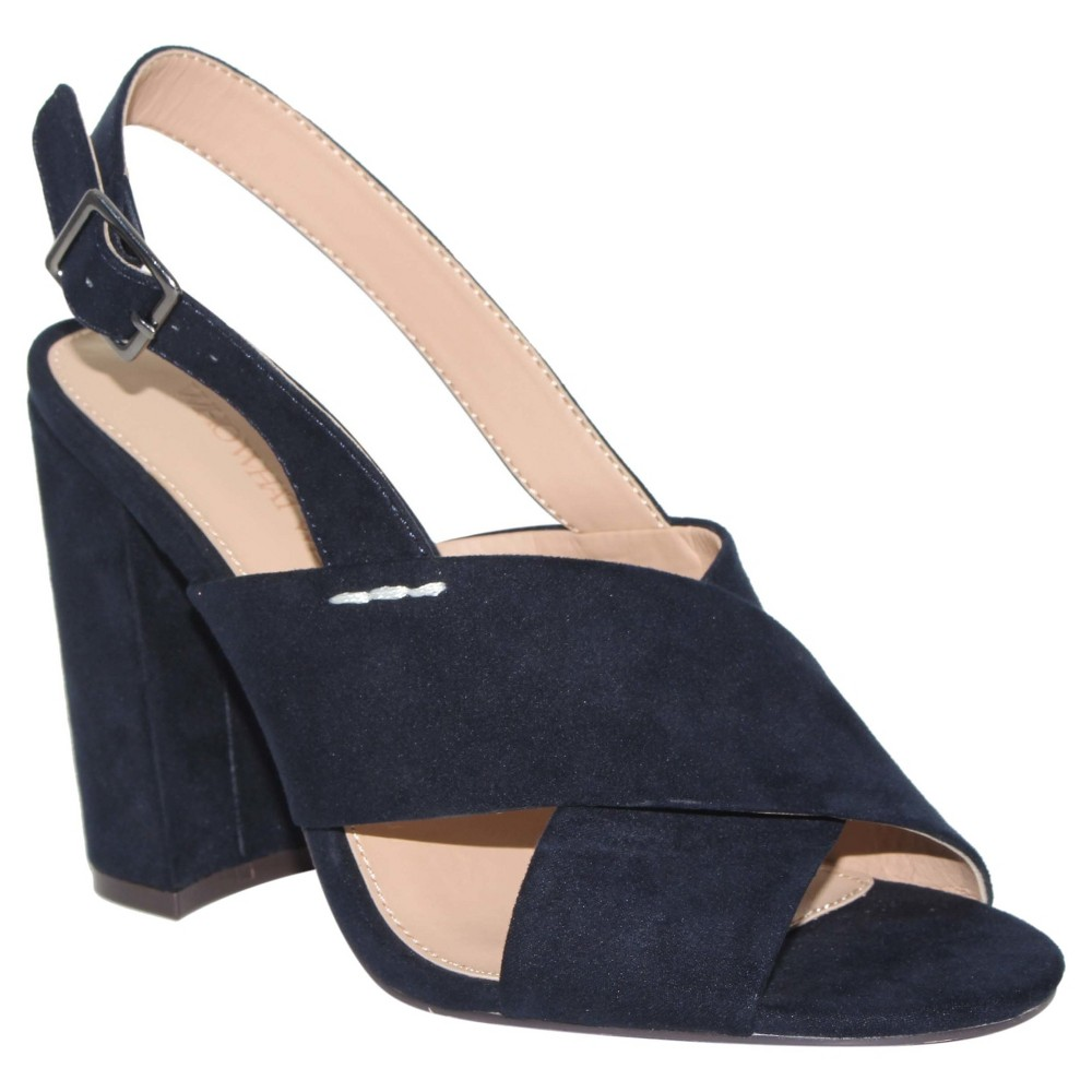 Women's Harper Microsuede Crossband Block Heels Who What Wear - Navy (Blue) 7