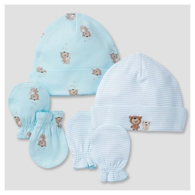 Babys' Cap and Mitten Set (2 Caps, 2 Mittens)Bears - Gerber®