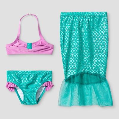 Baby Girls' Mermaid Bikini Set with Skirt - Cat & Jack™ Turquoise 9M