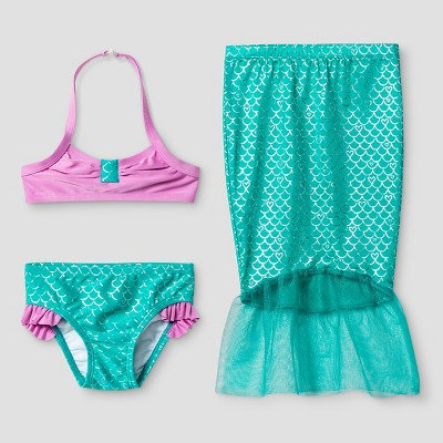 Baby Girls' Mermaid Bikini Set with Skirt - Cat & Jack™ Turquoise 12M