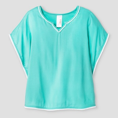 Baby Girls' Poncho Cover-Up with Pom Trim Cat & Jack™ - Aqua 12M