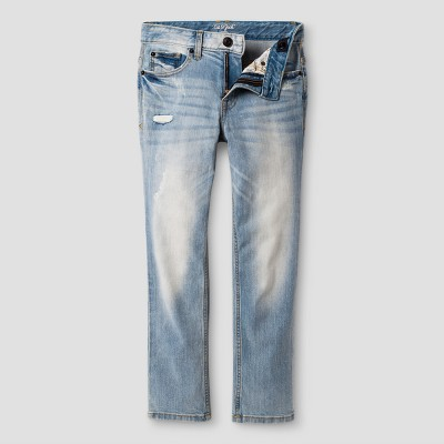 Boys' Jeans Destructed Skinny Fit Cat & Jack Light Wash Blue 14, Boy's