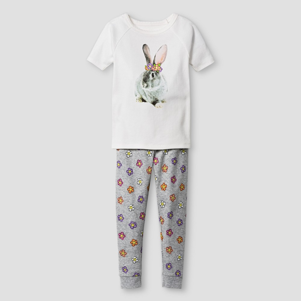 Toddler Girls Organic Cotton 2pc Pajama Set Floral Rabbit - Cat & Jack White & Gray 5T