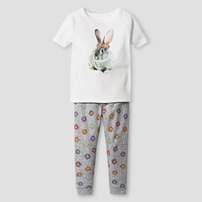 Toddler Girls' Organic Cotton 2-Piece Pajama Set Floral Rabbit - Cat & Jack™ White & Gray 12 M