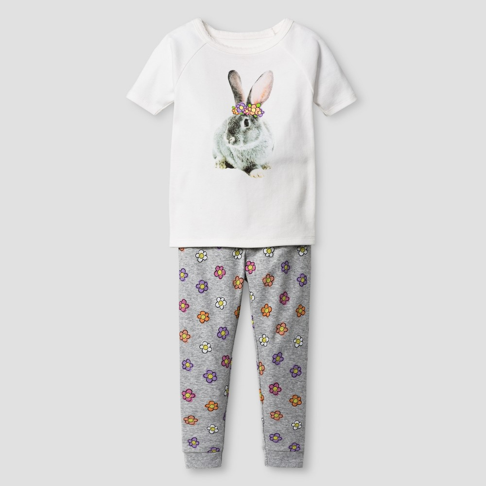 Toddler Girls Organic Cotton 2-Piece Pajama Set Floral Rabbit - Cat & Jack White & Gray 12 M