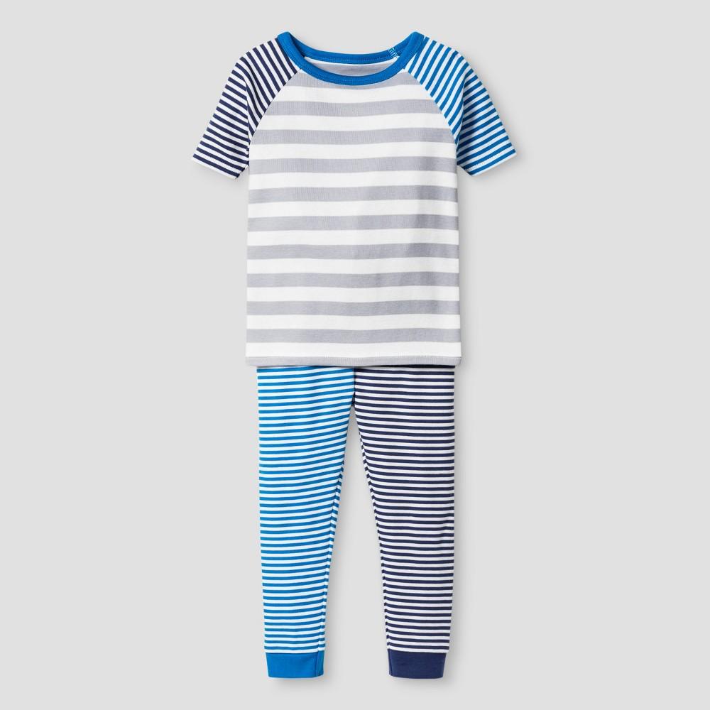 Toddler Boys Organic Cotton 2-Piece Stripe Pajama Set - Cat & Jack Blue Stripe 18 M