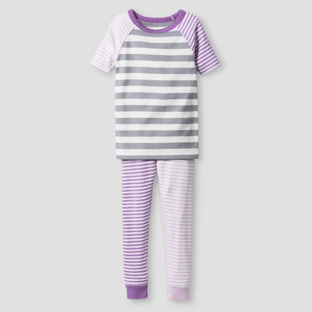 Toddler Girls Organic Cotton 2-Piece Pajama Set - Cat & Jack Lilac Stripe 2T, Purple