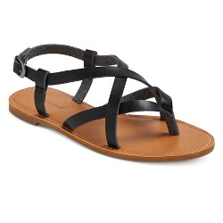 Girls' Lenita Dyeable Faux Leather Strappy Thong Sandals Cat & Jack™ - Black 13