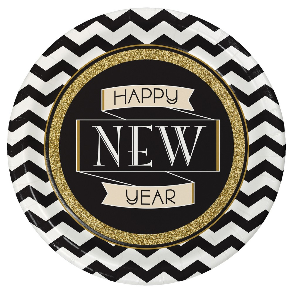 Midnight Celebration New Years Plates8 pk