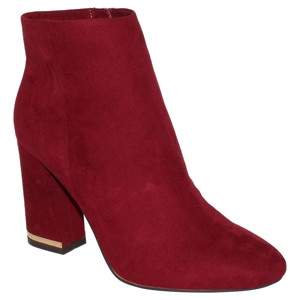 Women's Cora Microsuede Booties Who What Wear – Burgandian Wine 9
