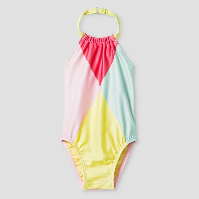 Baby Girls' Geo Halter One Piece Swimsuit - Cat & Jack™ Multi-colored 9M