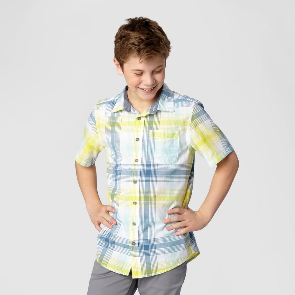 Husky Boys Button Down Shirt Yellow - Cat & Jack Yellin Yellow Xxl, Size: Xxl Husky