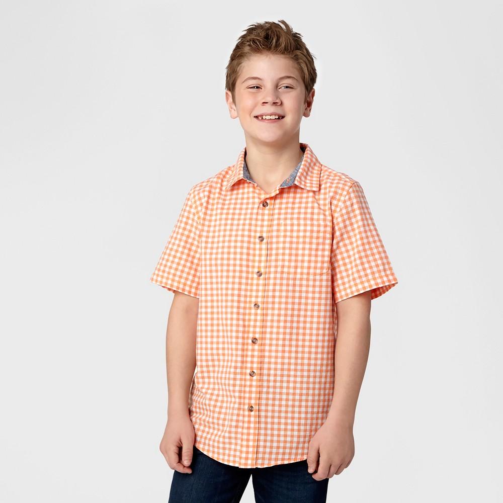Husky Boys Button Down Shirt - Cat & Jack Orange L, Size: L Husky
