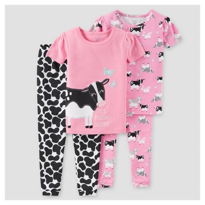 Baby Girls' 4pc Cows Snug Fit Cotton Pajama - Just One You™ Made by Carter's® Pink 9M