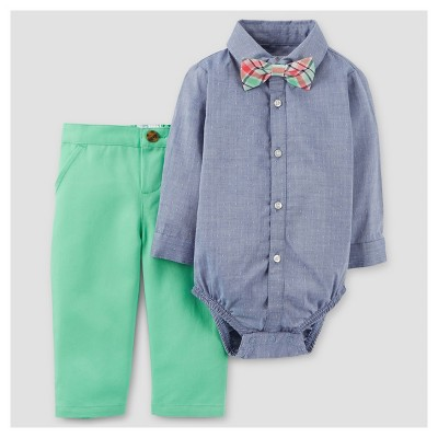 Baby Boys' 3pc Dressy Bow Tie Set - Just One You™ Made by Carter's Chambray 18M