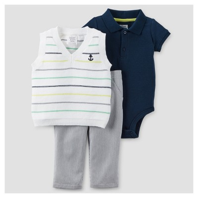 Baby Boys' 3pc Vest Dressy Set - Just One You™ Made by Carter's® Green 6M