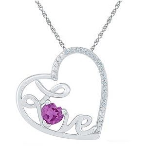 1/20 CT.T.W White Diamond & Amethyst Prong Set Heart with Love Pendant in Sterling Silver, Women