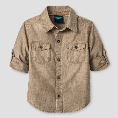 Toddler Boys' Button Down Shirt Genuine Kids™ from OshKosh® Khaki 5T