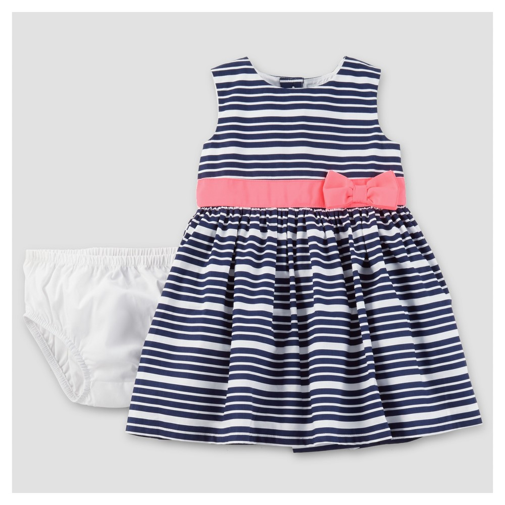 Baby Girls' Navy Stripe Pink Bow Dress 6M – Just One You Made by Carter's, Infant Girl's, Size: 6 M, Blue