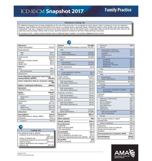 ICD-10 2017 Snapshot Coding Card Family Practice (Paperback) - image 1 of 1