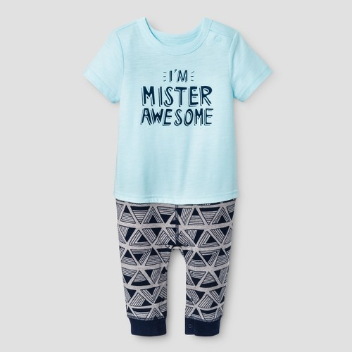 Baby Boys' Mister Awesome Romper - Baby Cat & Jack Turquoise 12 Months, Infant Boy's, Blue