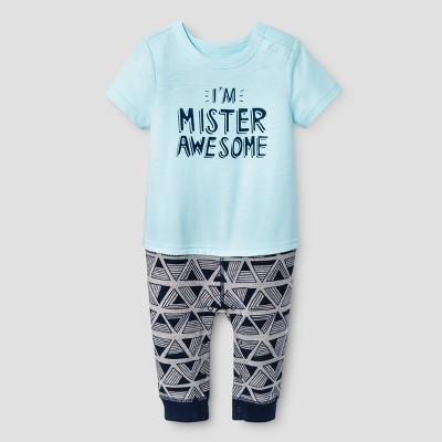 Baby Boys' Mister Awesome Romper - Cat & Jack™ Turquoise 6-9 Months