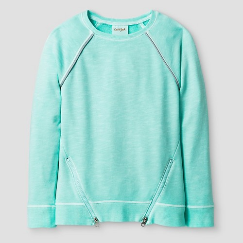 Girls' French Terry Crew Athleisure Top Cat & Jack - Aqua S, Girl's, Green