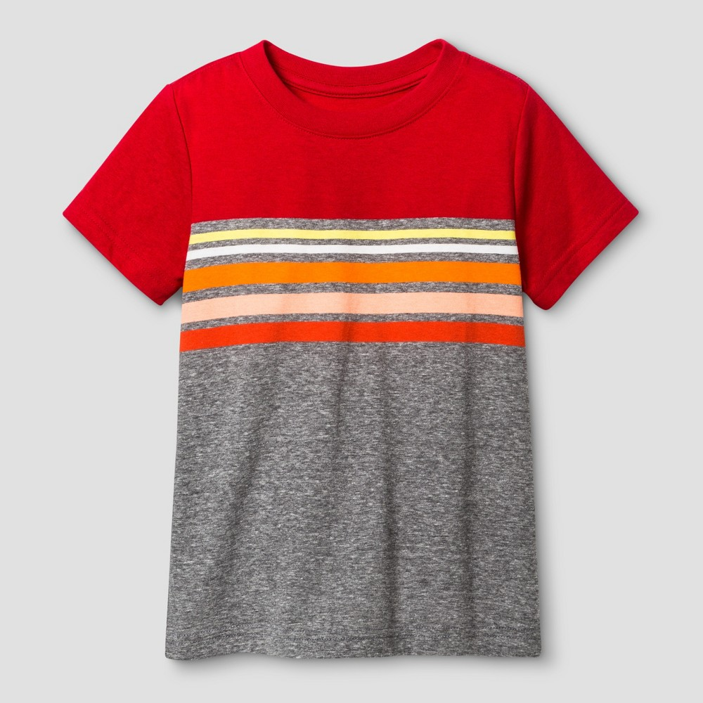 Toddler Boys Striped T-Shirt Cat & Jack Really Red 2T