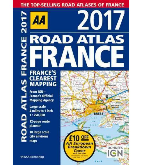 AA 2017 Road Atlas France (Paperback) - image 1 of 1