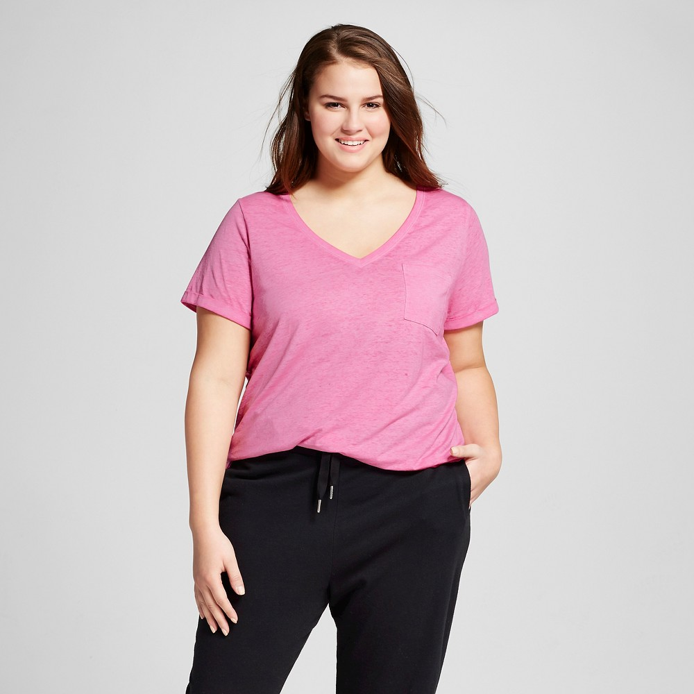 Womens Plus Size Burnout T-Shirt - Xhilaration - Polka Dot Pink 1X