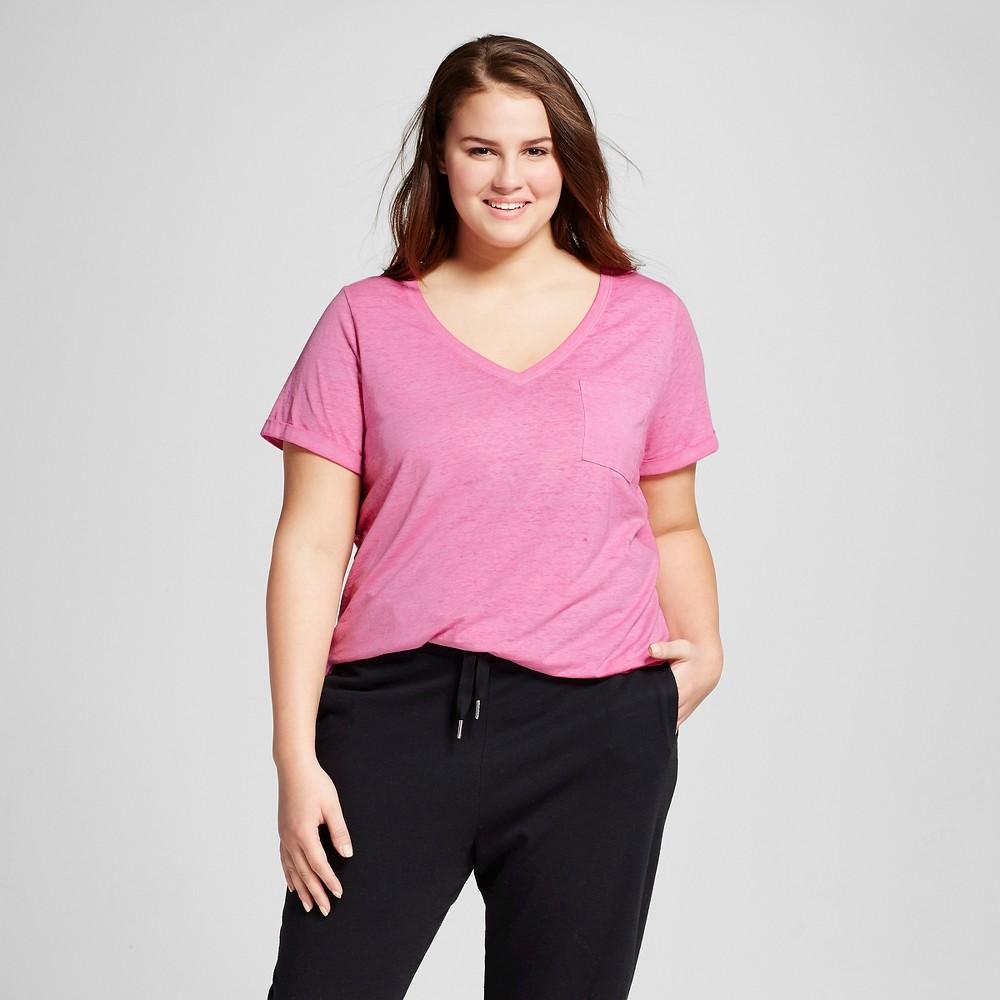 Womens Plus Size Burnout T-Shirt - Xhilaration - Polka Dot Pink 2X