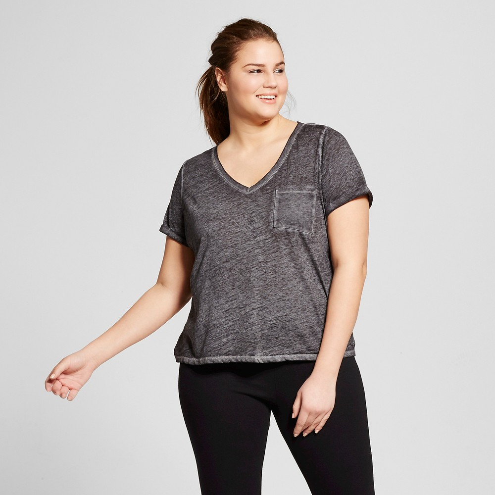 Womens Plus Size Burnout T-Shirt - Xhilaration - Black 2X