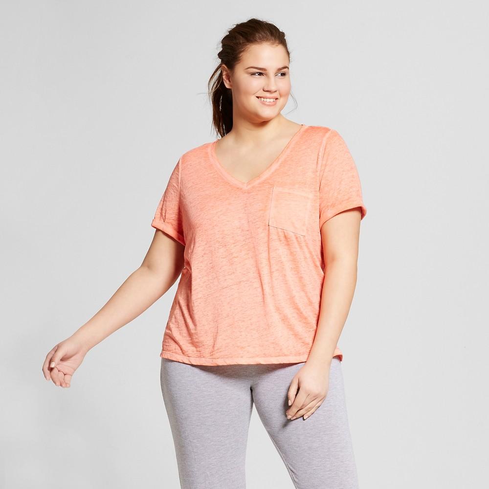 Womens Plus Size Burnout T-Shirt - Xhilaration - Hawaiian Coral 1X