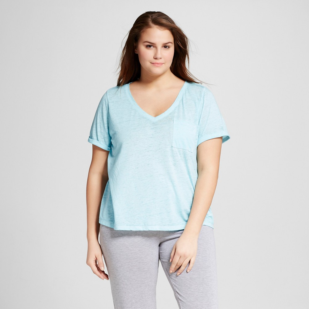 Womens Plus Size Burnout T-Shirt - Xhilaration - Sheer Turquoise 3X
