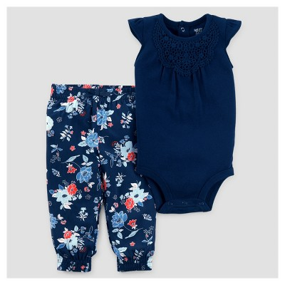 Baby Girls' 2pc Bodysuit and Floral Pants Set - Just One You™ Made by Carter's® Navy 6M