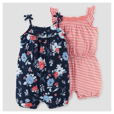 Baby Girls' 2pk Floral and Stripe Romper - Just One You™ Made by Carter's® Navy/Red 3M